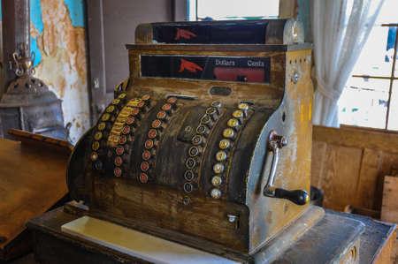 Beautiful antique cash machine at the hotel of 1830 Banco de Imagens