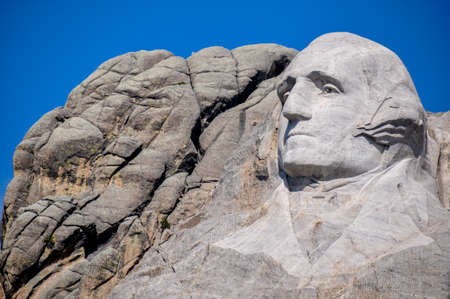 tats: George Washington on Mount Rushmore National Monument, South Dakota, USA. Editorial
