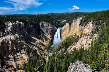 tats: Falls in One of the many scenery of Yellowstone National Park, Wyoming, USA.