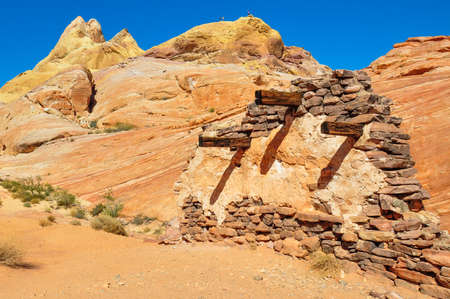 Execution wall in Valley of Fire Provincial Park, Nevada, USA. Archivio Fotografico