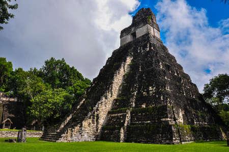 excitation: Temple of Jaguar, Tikal Ruins, Guatemala. Stock Photo