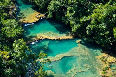 excitation: Semuc Champey natural swimming pools, Guatemala. Stock Photo