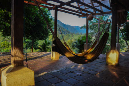 excitation: Taking it easy in Lanquin, Guatemala. Stock Photo