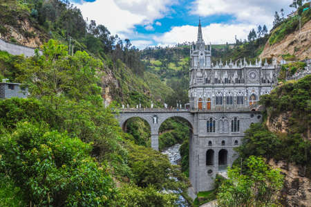bridge in the forest: Las Lajas Church in South of Colombia.