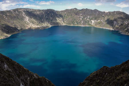 crater lake: Quilotoa Crater Lake, in Ecuador. Stock Photo