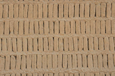 miraflores: Adobe blocks from a Huaca, Miraflores, Peru. Stock Photo