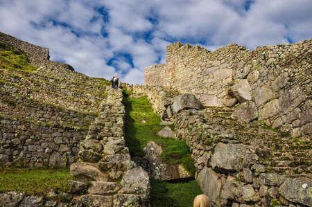 sacred valley of the incas: View over Machu Picchu Inca ruins, Peru.