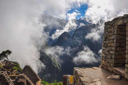 sacred valley: View over Machu Picchu Inca ruins, Peru.