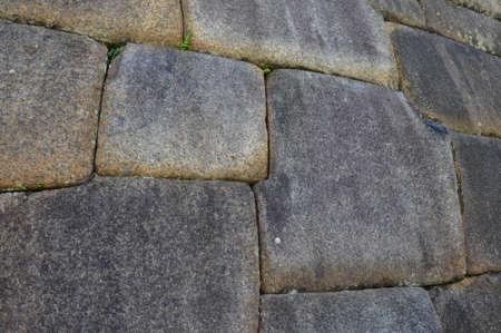 sculpted: Huge blocks sculpted by Incas, Machu Picchu, Peru. Stock Photo