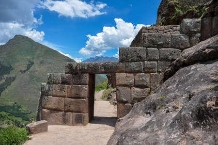 sacred valley of the incas: Pisac Incas ruins, Sacred Valley, Peru. Stock Photo