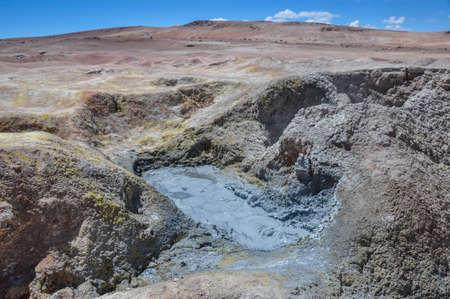 lipez: Mudpools in Geysers Sol Manana, Sur Lipez, South Bolivia. Stock Photo