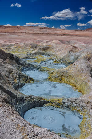 lipez: Mudpools in Geysers Sol Manana, Sur Lipez, South Bolivia. Stock Photo