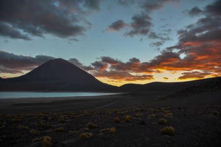 lipez: Volcan Licancabur with Gorgeous landscapes of Sur Lipez, South Bolivia.