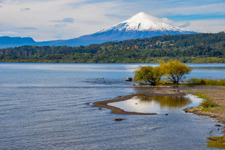 excitation: View of Volcan Villarrica from Villarrica itself, Chile.