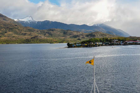 fjords: Puerto Eden, Crossing fjords in Southern Chile. Stock Photo