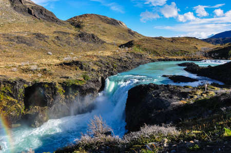 torres del paine: Waterfalls in Parque Nacional Torres del Paine, Chile. Stock Photo