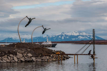 puerto natales: By the waterside in Puerto Natales, Chile. Stock Photo