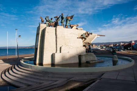 excitacion: Estatua Representante y artes de Punta Arenas, sur de Chile.