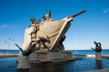 arenas: Representative statue and arts of Punta Arenas, Southern Chile.