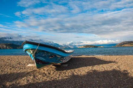 carrera: Killer boat in Lago General Carrera, Carretera Austral, HIghway 7, Chile.
