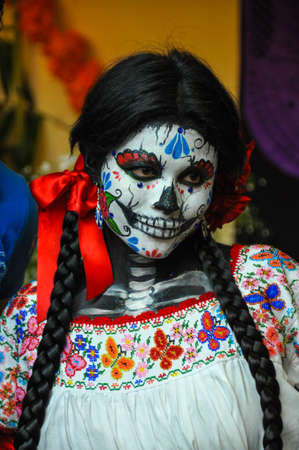Woman disguised for Dia de los Muertos, Puebla, Mexico. Editorial