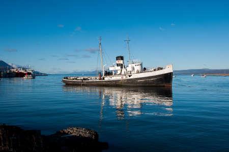 fuego: Old boat in Tierra del Fuego, South Argentina. Stock Photo