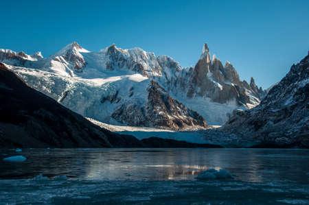fitz: Frozen lake reflection at the Cerro Torre, Fitz Roy, Argentina. Stock Photo