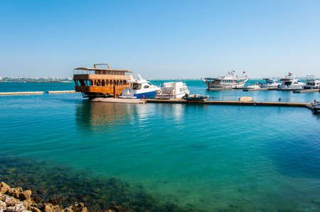 persian gulf: Boats anchored in Bahrain on Persian Gulf.