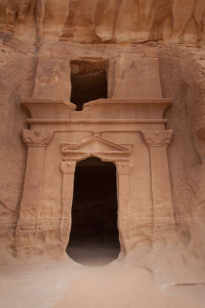 archeological: Nabatean tomb in Madain Saleh archeological site, Saudi Arabia.