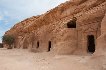 ���archeological site���: Nabatean tomb in Madain Saleh archeological site, Saudi Arabia.