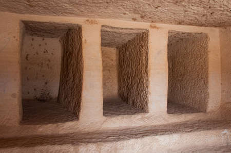 archeological: Inside a Nabatean tomb in Madain Saleh archeological site, Saudi Arabia. Editorial