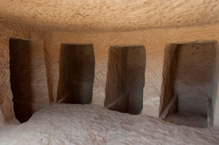 large formation: Inside a Nabatean tomb in Madain Saleh archeological site, Saudi Arabia. Editorial