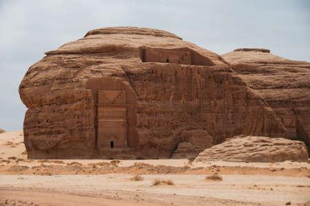 archeological site: Nabatean tomb in Madain Saleh archeological site, Saudi Arabia.