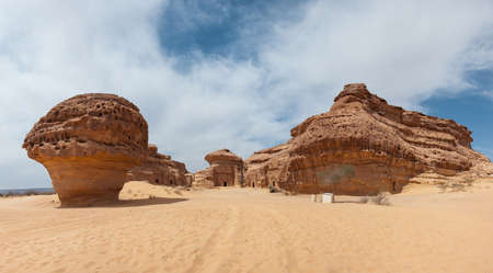 archeological: Nabatean tombs in Madain Saleh archeological site, Saudi Arabia.