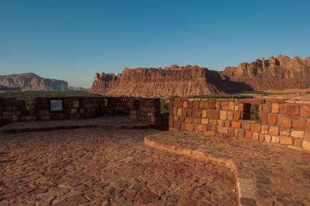 Rock formations on top of Al Ula old city fort, Saudi Arabia. Stock Photo