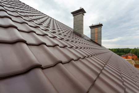 light slate gray: New roof with chimney, natural red tile and chimney