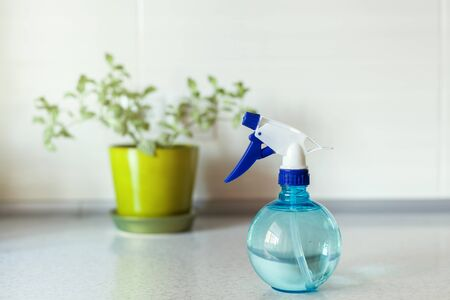 Close up of Blue round spray bottle and green flower on background Stock Photo