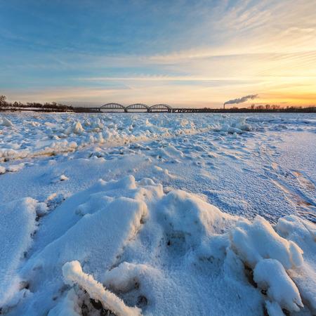 Ice in winter frozen river
