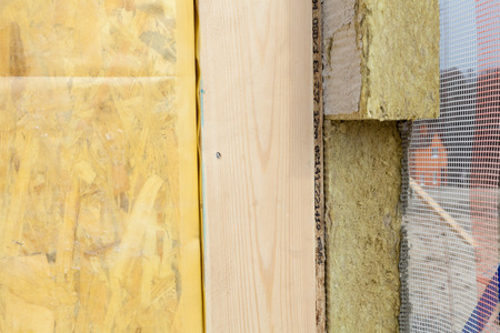 Closeup of  structural Insulated Panels with mineral rockwool  insulation and Drywall Stock Photo