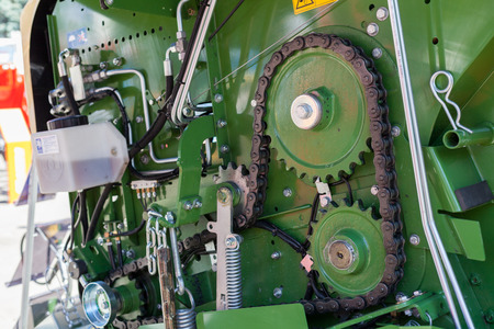 Old gear and chain, machinery part background