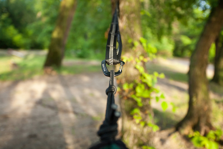 Closeup of hammock straps on the tree