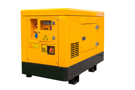 Side view of mobile diesel disaster currents generator for emergency electric power with control console panel isolated on white background with clipping path Stock Photo