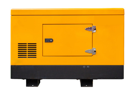 Mobile diesel or gasoline generator for emergency function and electric power isolated on white background with clipping path