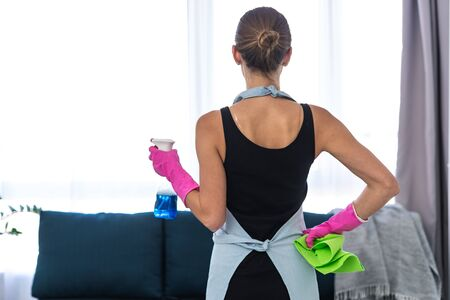 Back behind view of young adult woman in apron standing in living room with cloth and spray in hands Stock fotó