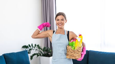 Panoramic view of strong, cheerful young adult woman in apron smiling, standing in living room, holding wicker box with detergent and cleaning stuff, showing biceps