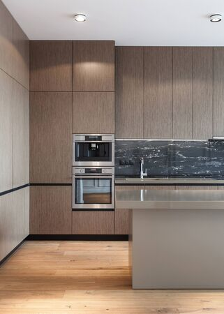 Vertical photo of house with modern interior design. Kitchen with wooden facade at cupboard, contemporary household appliance, coffee machine, sink with chrome water tap on worktop and laminate floor