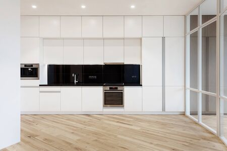 House with modern interior design and wooden laminate floor at white kitchen. Large and empty space with household appliance, electric oven, coffee machine and sink with chrome water tap
