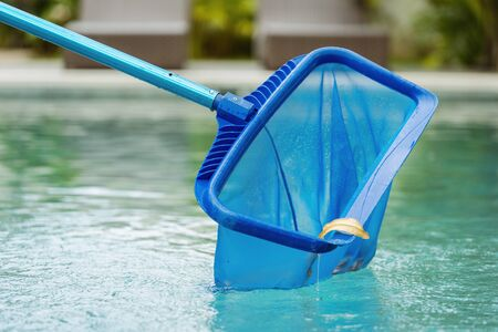Close up of cleaning swimming pool of fallen leaves with special skimmer mesh equipment against blurred background with beach loungers in resort