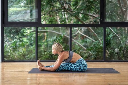 Side view of young adult athletic woman sitting in head to knee forward bend position, making yoga exercise in fitness class, training on mat against natural plants on background 版權商用圖片