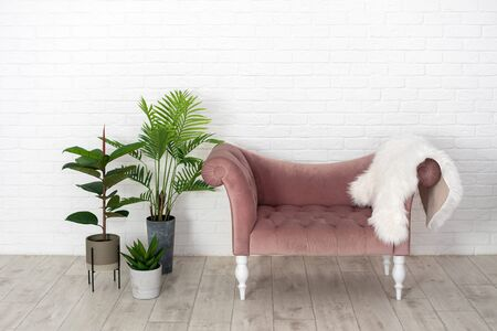 Modern room with elegant interior, cushioned furniture, classic sofa, fluffy fur and houseplant in flowerpot against white brick wall on background with copy space Imagens - 148272244